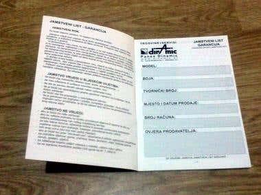 Warranty booklets