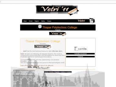 Vetri - College TechFest Website Design