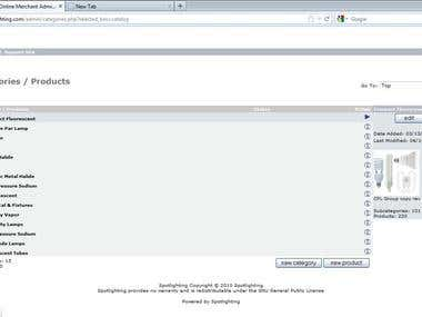 Data Entry in Oscommerce Site