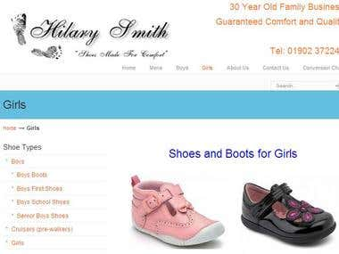 Hilary Smith Shoes Wordpress Site