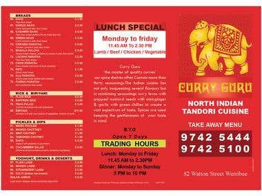 menu card for an australian company