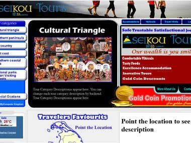 Home Page for tourism web site
