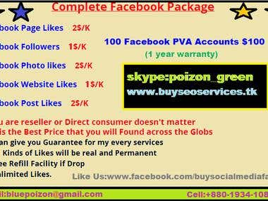 Facebook PVA Accounts with warranty