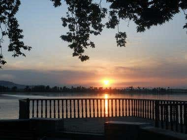 Sunset of Dal Lake