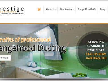 Prestige Rangehoods website designs
