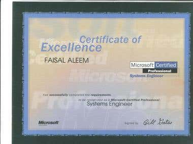 Certification of Microsoft Certified System Engineer