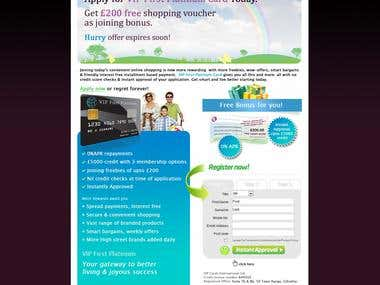 Sales Page for a eCommerce portal loyalty card launch