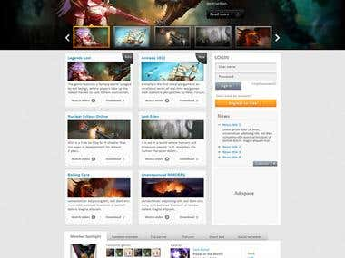 Website design for a game portal