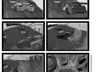 Story Board for a racing car accident perspective