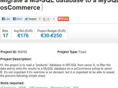 Migrate a MS-SQL database to a MySQL osCommerce