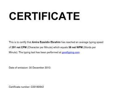 Typing certificate