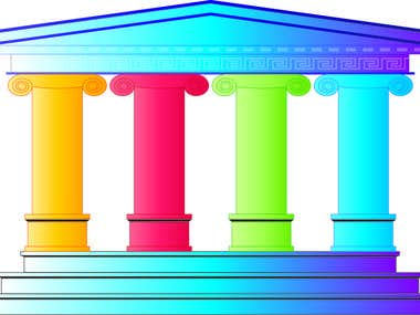 Graphic Illustration of Greek Temple - for Business Graphics