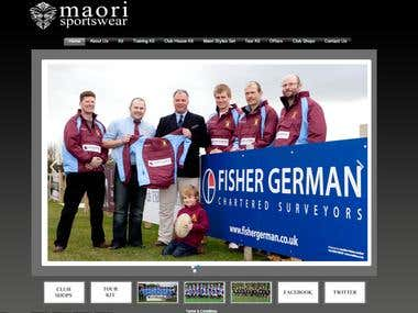 Web Site design and development for Maori-SportsWear