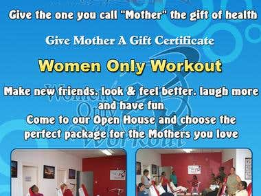 Women only workout gym flyer