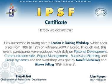 IPSF certificate of attendance
