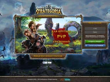 Landing page for strategy game Strategoria.