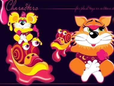 Cartoon characters & logo