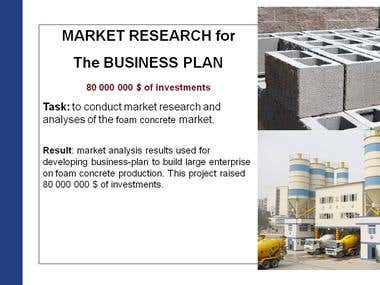 MARKET RESEARCH for The BUSINESS PLAN ($80M raised)