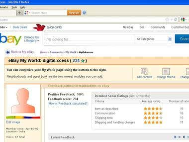 Ebay power seller status with 100% positive feedback