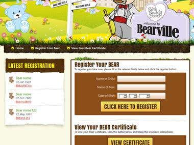 Bear ville ( The site is to register bears to the birthday )