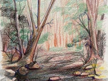 Landscape with color pencils