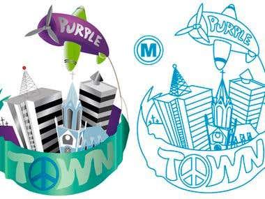 Purple town Logo