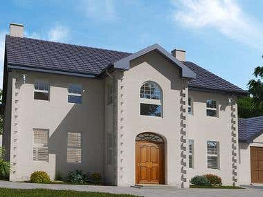 Two story family house rendering