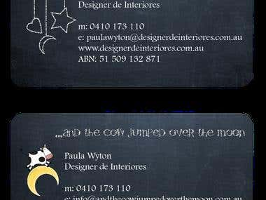 business card ...and the cow jumped over the moon