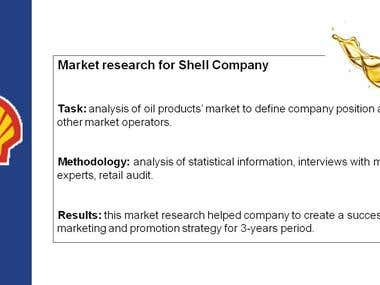 Market research for Shell Company