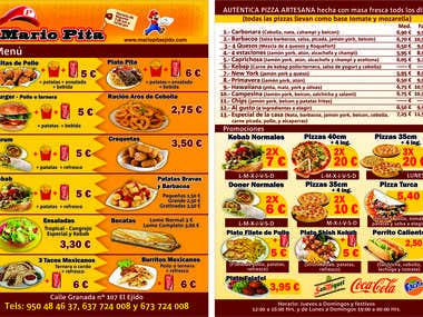 Kebab and pizza menu