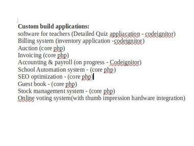 List of our custom build applications