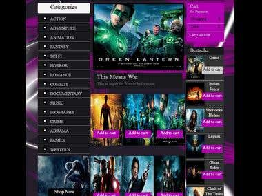 Web design for a movie site