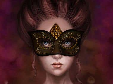 Girl behind mask