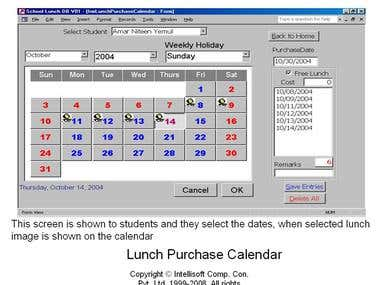 Lunch Purchase Calendar