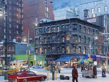 CityLife_NY-intersection_WinterNight