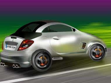 Digital Drawing of a Car