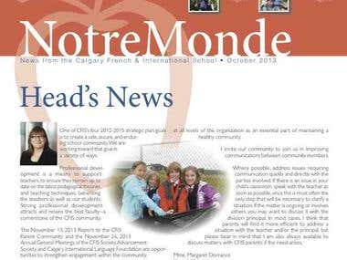 Monthly newsletter for independent school