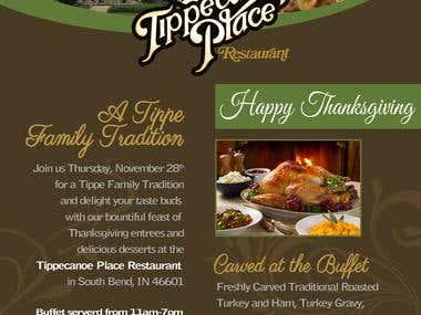 Thanksgiving Restaurant Menu Menu
