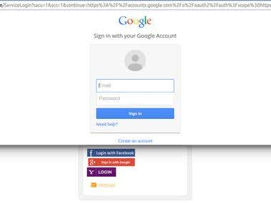 Social Login Buttons On Login Portal