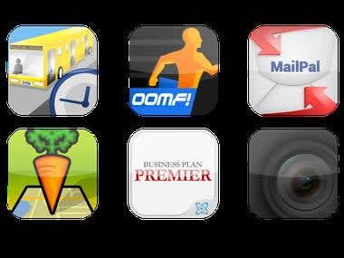 Launcher icons for various mobile apps