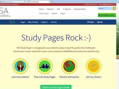 Study Pages design for ISA Tutors isatutors.com