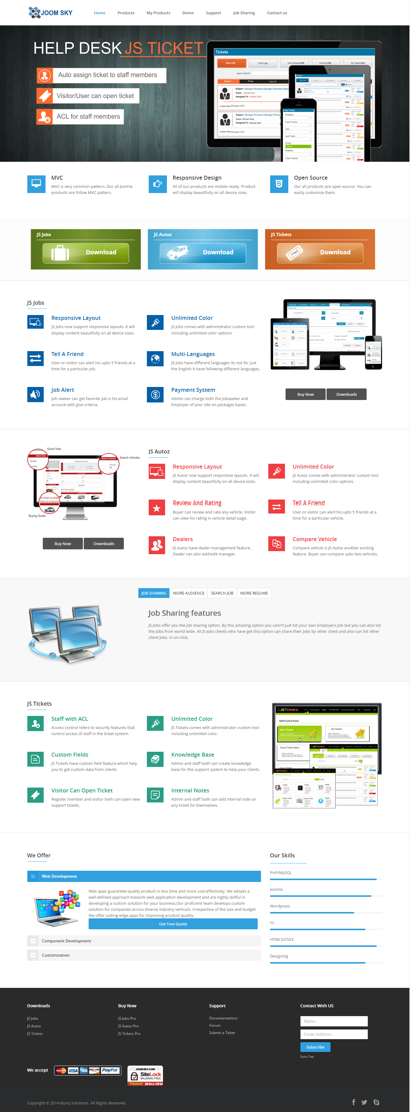 a products web site.