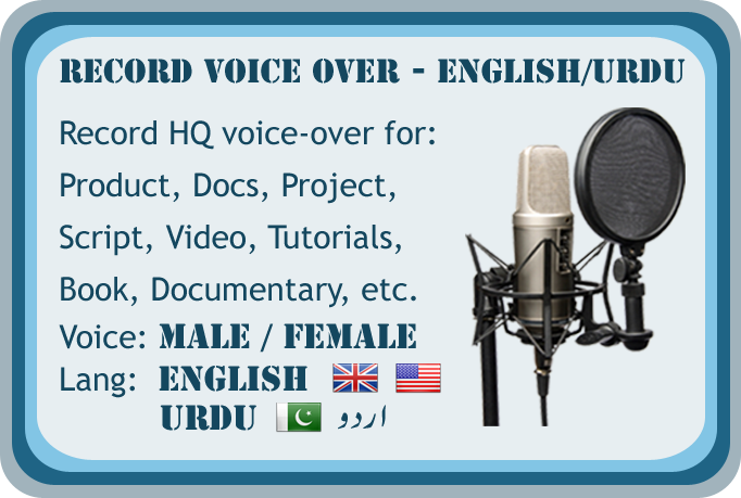 Record Male or Female voiceover in English or Urdu