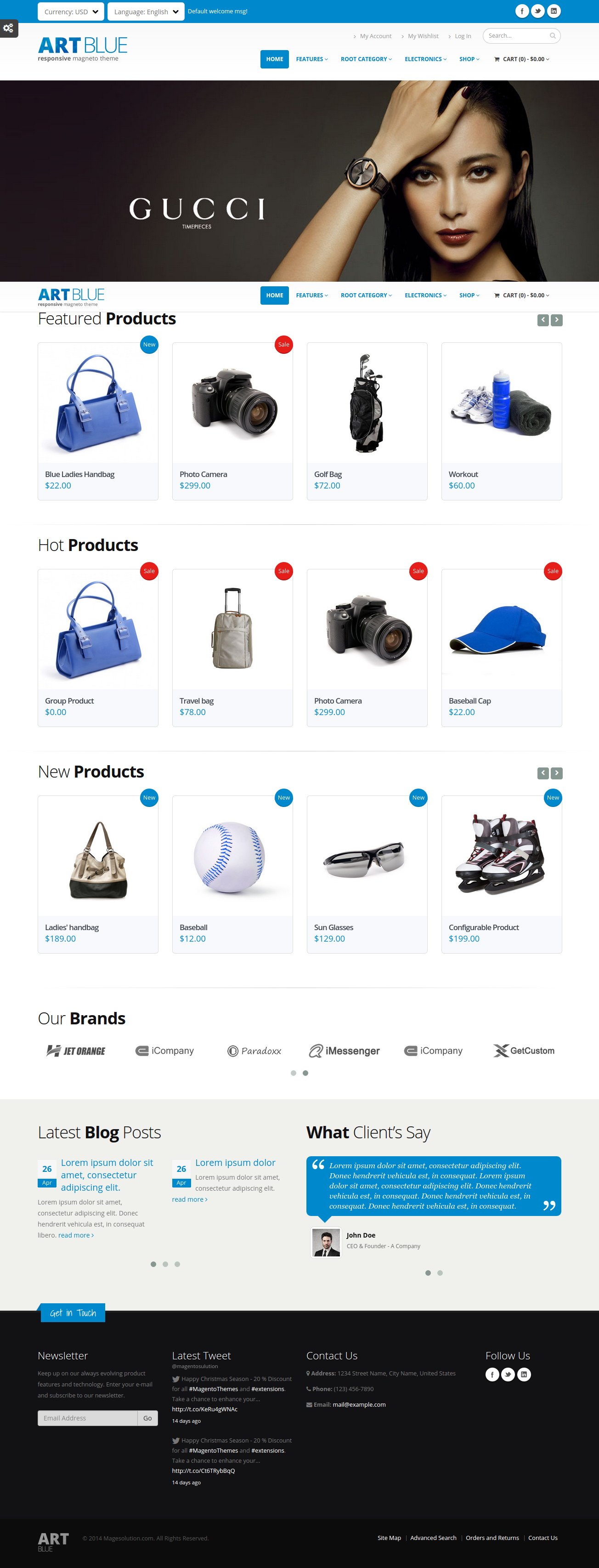 ART - Blue responsive Magento theme