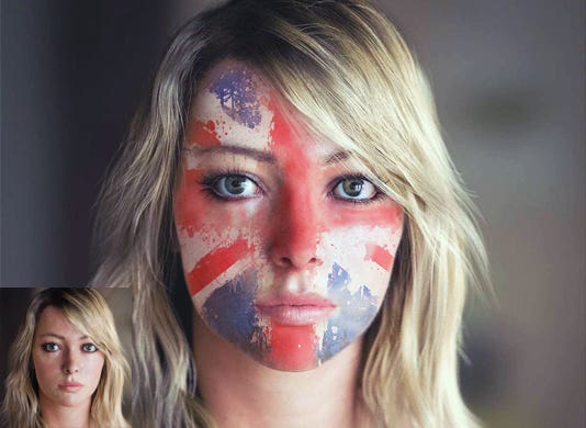 Realistic flag on a face.