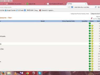 Uploda data into a e commerce website & someexcel work