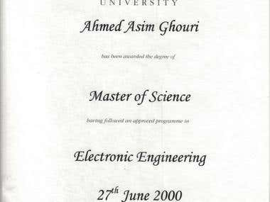 Masters of Electronics Engineering
