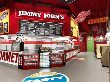 Jimmy Johns Restaurant 3d rendering
