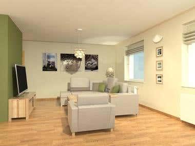 Interior design - 3d rendering - living room