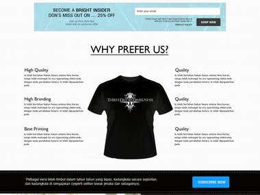 Landing page for promotion for t-shirt Branding